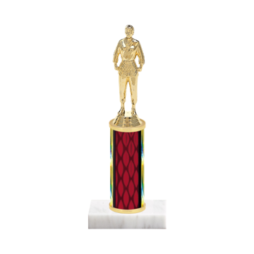 "9"" Martial Arts Trophy with Martial Arts Figurine, 4"" colored column and marble base."