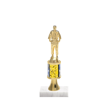 "10"" Martial Arts Trophy with Martial Arts Figurine, 2"" colored column, gold riser and marble base."