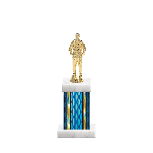 "11"" Martial Arts Trophy with Martial Arts Figurine, 4"" colored column and marble base."