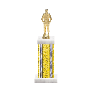 "13"" Martial Arts Trophy with Martial Arts Figurine, 6"" colored column and marble base."