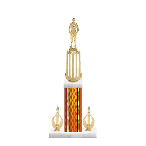 "18"" Martial Arts Trophy with Martial Arts Figurine, 7"" colored column, double side trim and marble base."