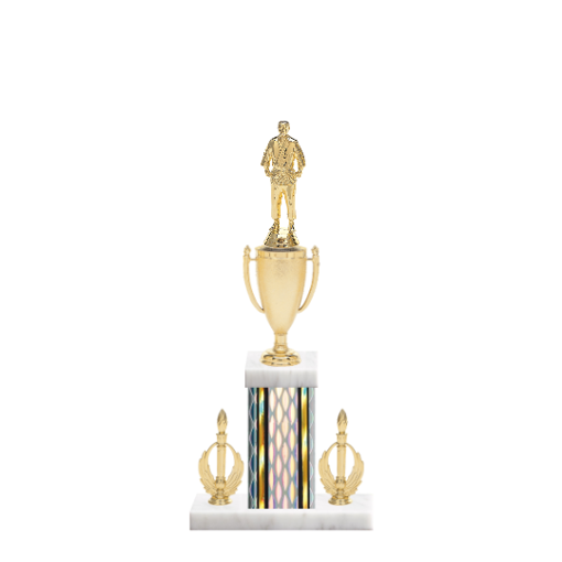 "16"" Martial Arts Trophy with Martial Arts Figurine, 5"" colored column, double side trim and marble base."
