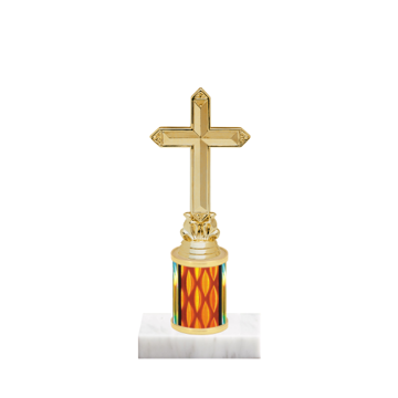 "7"" Church Trophy with Church Figurine, 2"" colored column and marble base."