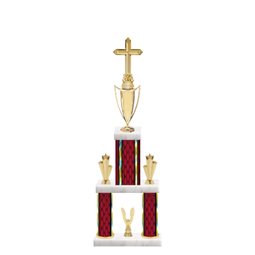 "22"" Multi-Tier Church Trophy with Church Figurine, 5"" colored top column, 5"" colored bottom columns, cup riser, double side trim and center base trim."