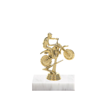 "5"" Motorcycle Riding Figure on Marble Base Trophy"