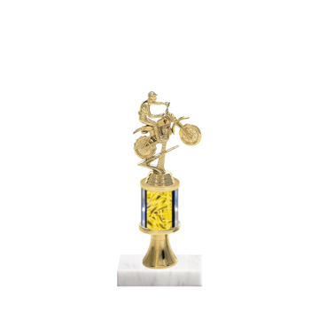 "10"" Motorcycle Riding Trophy with Motorcycle Riding Figurine, 2"" colored column, gold riser and marble base."