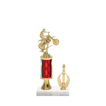 "11"" Motorcycle Riding Trophy with Motorcycle Riding Figurine, 3"" colored column, gold riser, side trim and marble base."