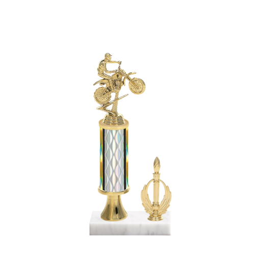 "12"" Motorcycle Riding Trophy with Motorcycle Riding Figurine, 4"" colored column, gold riser, side trim and marble base."