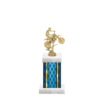 "11"" Motorcycle Riding Trophy with Motorcycle Riding Figurine, 4"" colored column and marble base."