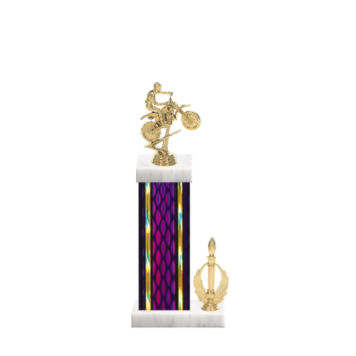 """14"""" Motorcycle Riding Trophy with Motorcycle Riding Figurine, 6"""" colored column, side trim and marble base."""