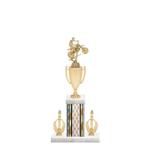 "16"" Motorcycle Riding Trophy with Motorcycle Riding Figurine, 5"" colored column, double side trim and marble base."