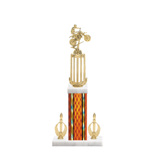 "18"" Motorcycle Riding Trophy with Motorcycle Riding Figurine, 7"" colored column, double side trim and marble base."