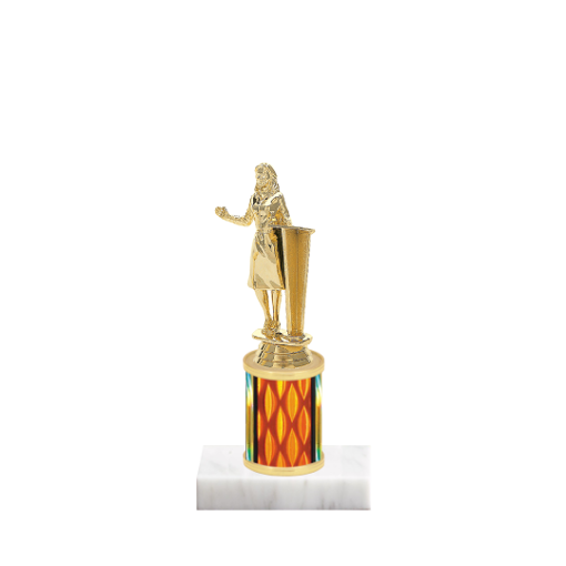 """7"""" Toastmaster Trophy with Toastmaster Figurine, 2"""" colored column and marble base."""