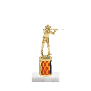 "7"" Trap & Skeet Trophy with Trap & Skeet Figurine, 2"" colored column and marble base."