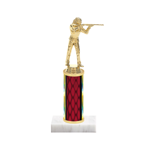 "9"" Trap & Skeet Trophy with Trap & Skeet Figurine, 4"" colored column and marble base."