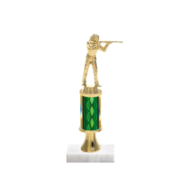 "11"" Trap & Skeet Trophy with Trap & Skeet Figurine, 3"" colored column, gold riser and marble base."