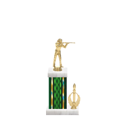 "13"" Trap & Skeet Trophy with Trap & Skeet Figurine, 5"" colored column, side trim and marble base."