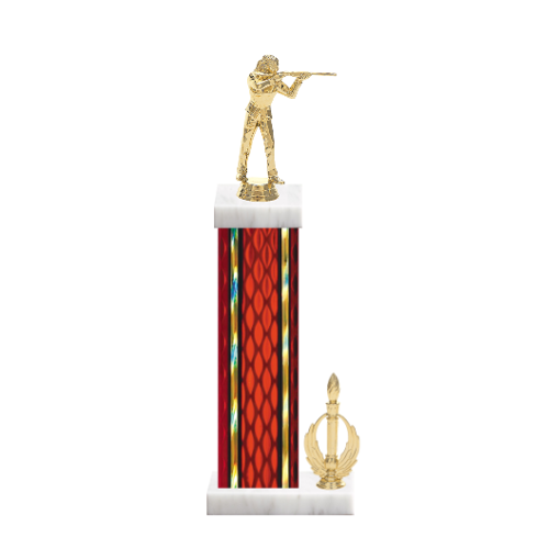 """15"""" Trap & Skeet Trophy with Trap & Skeet Figurine, 7"""" colored column, side trim and marble base."""
