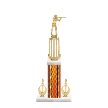 "18"" Trap & Skeet Trophy with Trap & Skeet Figurine, 7"" colored column, double side trim and marble base."