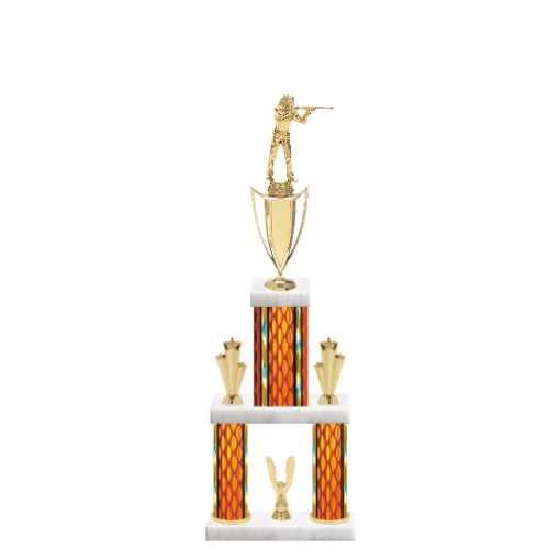 """22"""" Multi-Tier Trap & Skeet Trophy with Trap & Skeet Figurine, 5"""" colored top column, 5"""" colored bottom columns, cup riser, double side trim and center base trim."""