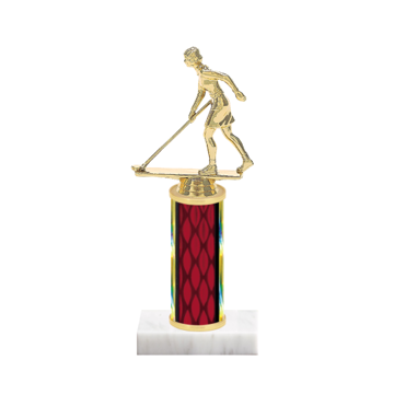 "9"" Shuffleboard Trophy with Shuffleboard Figurine, 4"" colored column and marble base."