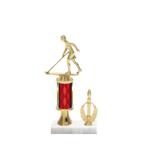 "11"" Shuffleboard Trophy with Shuffleboard Figurine, 3"" colored column, gold riser, side trim and marble base."