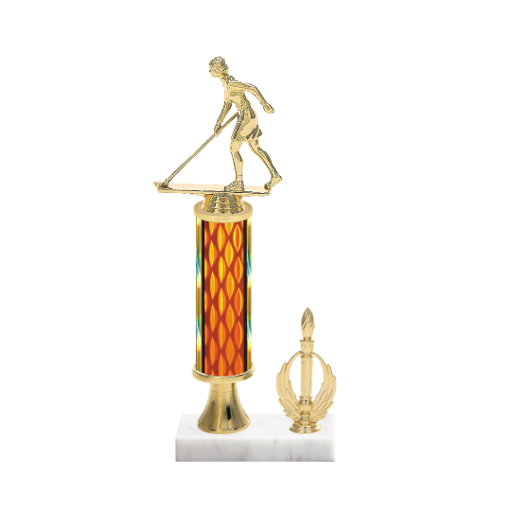 "13"" Shuffleboard Trophy with Shuffleboard Figurine, 5"" colored column, gold riser, side trim and marble base."