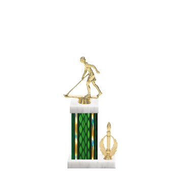 "13"" Shuffleboard Trophy with Shuffleboard Figurine, 5"" colored column, side trim and marble base."