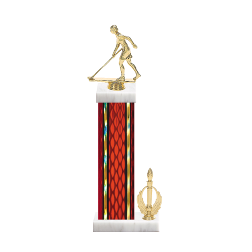 "15"" Shuffleboard Trophy with Shuffleboard Figurine, 7"" colored column, side trim and marble base."