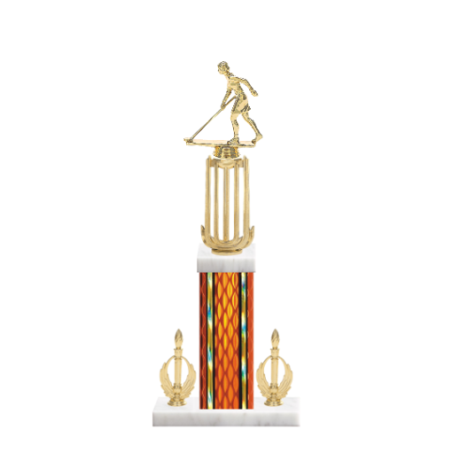 "18"" Shuffleboard Trophy with Shuffleboard Figurine, 7"" colored column, double side trim and marble base."
