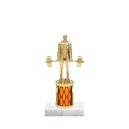 """7"""" Weightlifting Trophy with Weightlifting Figurine, 2"""" colored column and marble base."""