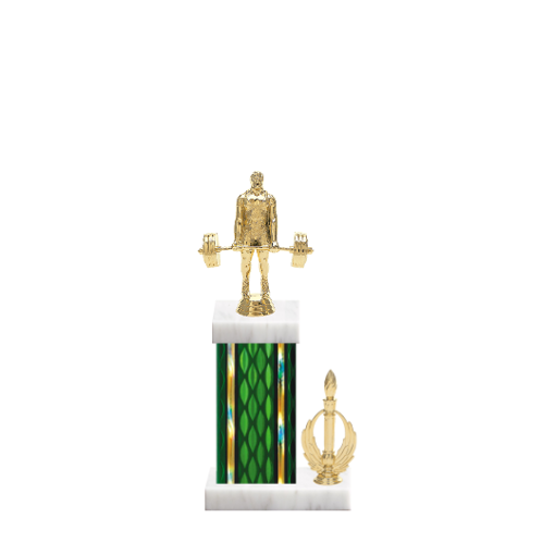 "13"" Weightlifting Trophy with Weightlifting Figurine, 5"" colored column, side trim and marble base."