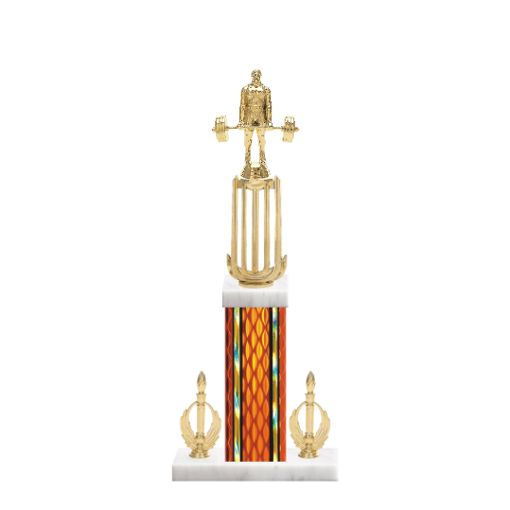 """18"""" Weightlifting Trophy with Weightlifting Figurine, 7"""" colored column, double side trim and marble base."""
