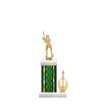 "13"" Baseball Trophy with Baseball Figurine, 5"" colored column, side trim and marble base."