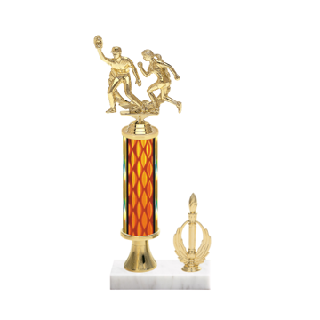 "13"" Softball Trophy with Softball Figurine, 5"" colored column, gold riser, side trim and marble base."