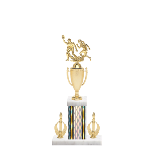 "16"" Softball Trophy with Softball Figurine, 5"" colored column, double side trim and marble base."