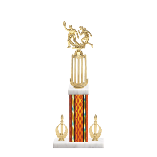 "18"" Softball Trophy with Softball Figurine, 7"" colored column, double side trim and marble base."