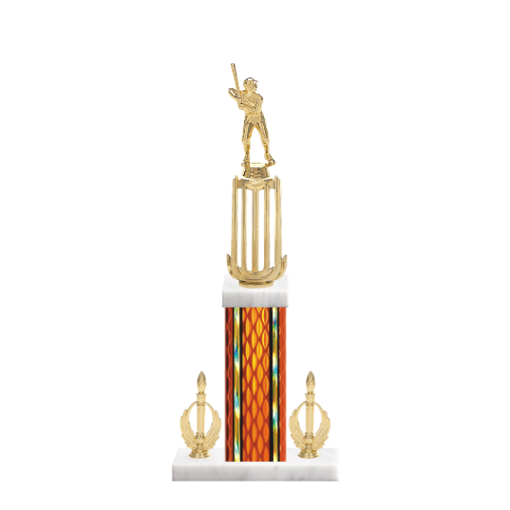 """18"""" Baseball Trophy with Baseball Figurine, 7"""" colored column, double side trim and marble base."""