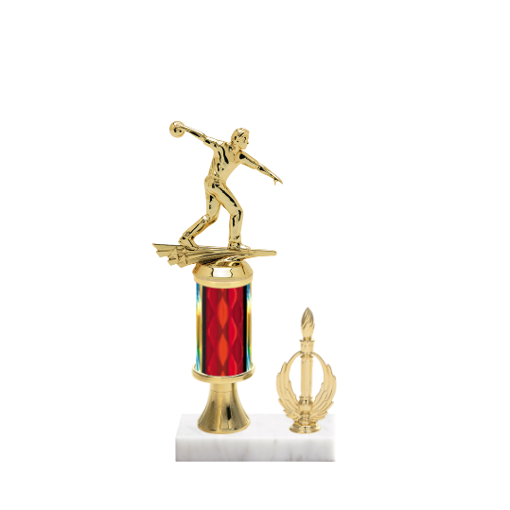 "11"" Bowling Trophy with Bowling Figurine, 3"" colored column, gold riser, side trim and marble base."
