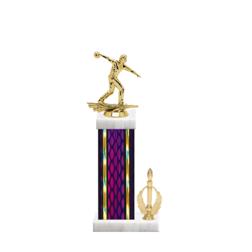 "14"" Bowling Trophy with Bowling Figurine, 6"" colored column, side trim and marble base."