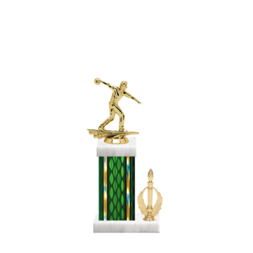 """13"""" Bowling Trophy with Bowling Figurine, 5"""" colored column, side trim and marble base."""