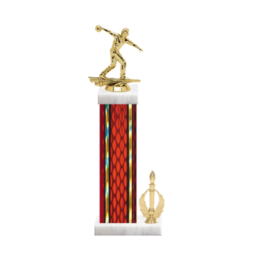 "15"" Bowling Trophy with Bowling Figurine, 7"" colored column, side trim and marble base."