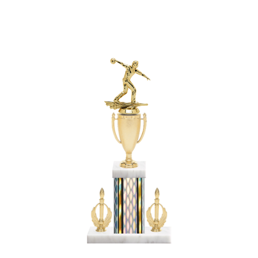 "16"" Bowling Trophy with Bowling Figurine, 5"" colored column, double side trim and marble base."