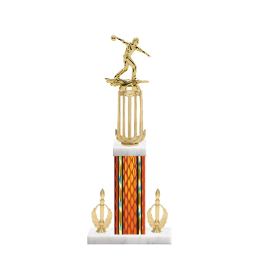 """18"""" Bowling Trophy with Bowling Figurine, 7"""" colored column, double side trim and marble base."""