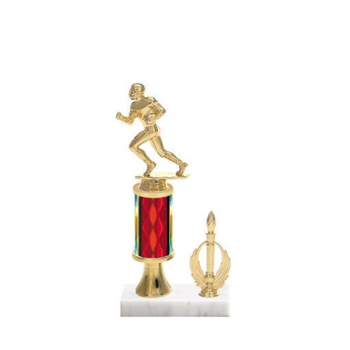"11"" Football Trophy with Football Figurine, 3"" colored column, gold riser, side trim and marble base."