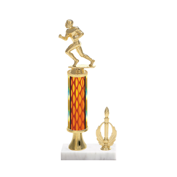 "13"" Football Trophy with Football Figurine, 5"" colored column, gold riser, side trim and marble base."