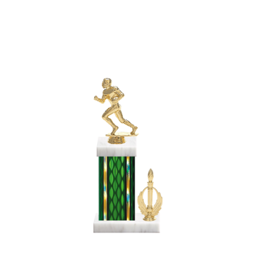 "13"" Football Trophy with Football Figurine, 5"" colored column, side trim and marble base."
