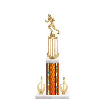 "18"" Football Trophy with Football Figurine, 7"" colored column, double side trim and marble base."