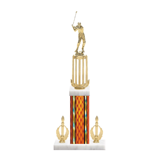 "18"" Golf Trophy with Golf Figurine, 7"" colored column, double side trim and marble base."