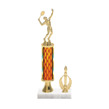 "13"" Tennis Trophy with Tennis Figurine, 5"" colored column, gold riser, side trim and marble base."